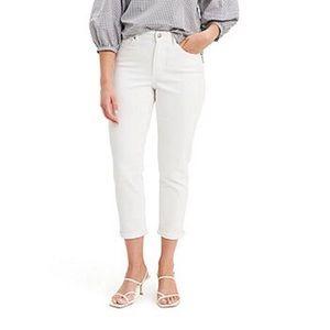Levi's White Cuff Hem Capri Jeans